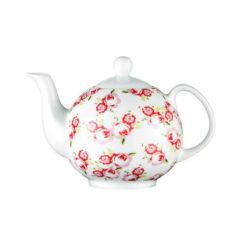 Porcelán teáskanna, rózsa mintás