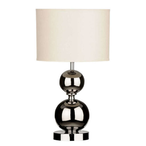 Tükröződő felületű, krém burájú asztali lámpa