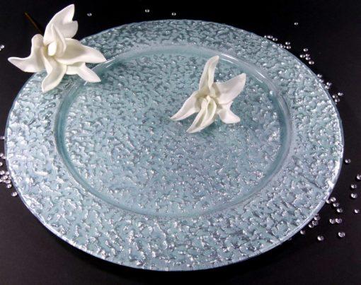 Különleges díszítésű üveg tál