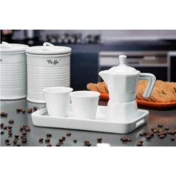 Hófehér, három részből álló kávézó szett