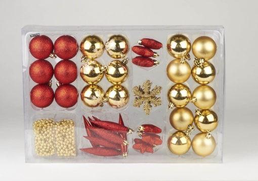 44 részes, többféle karácsonyfadíszből álló szett