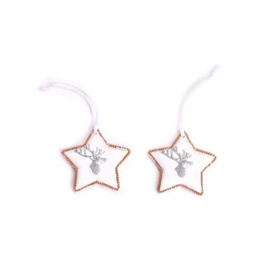 karácsonyfadísz csillag ezüst-fehér rénszarvassal