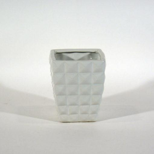 Kis méretű, négyzet mintás fehér kaspó
