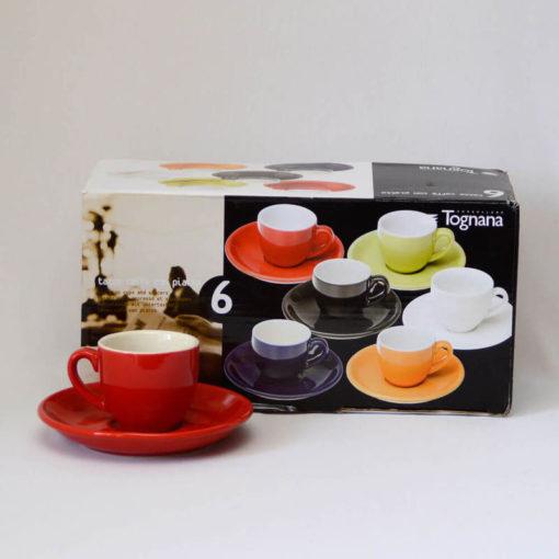 Porcelán kávéskészlet, piros-fehér
