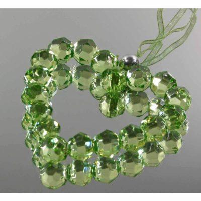 Dekorkristály szív – zöld