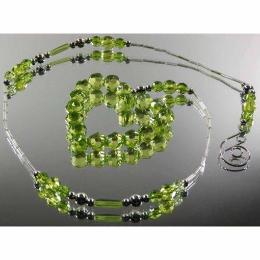 Zöld színű dekorkristály lánc