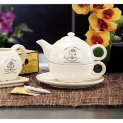 Krém színű, praktikus kerámia teás készlet