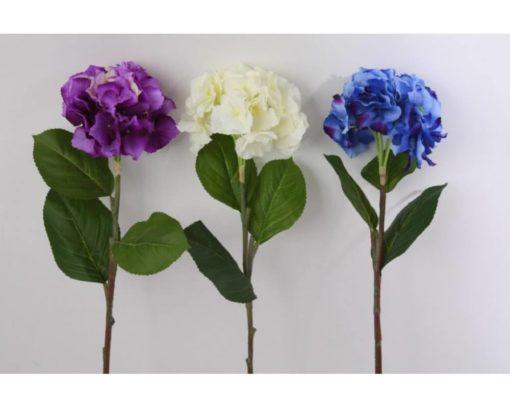 Selyemből készült, 76 cm hosszú, lila, fehér, kék színű hortenzia virág
