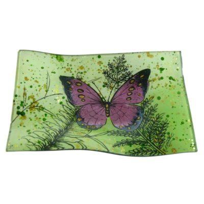 Üveg dekor tányér zöld pillangos