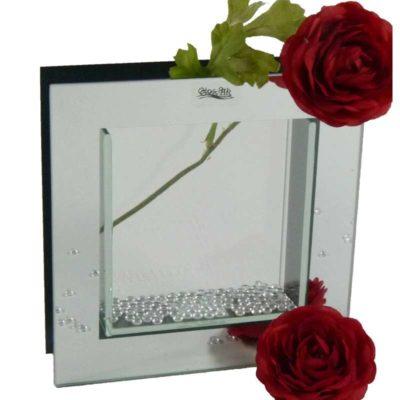 Üveg váza Quadro 15cm