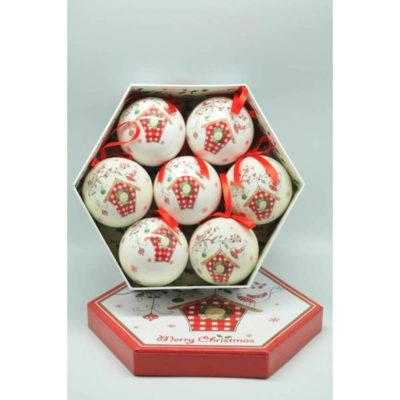 Karácsonyfadísz díszdobozban piros-fehér 7,5cm