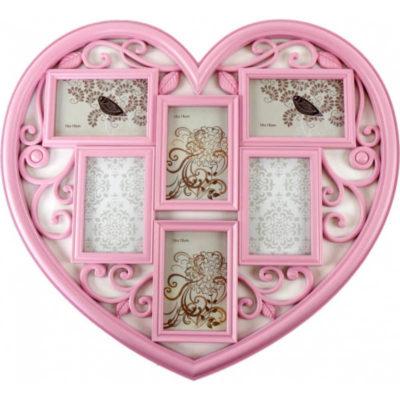 Képkeret szív rózsaszín 5r