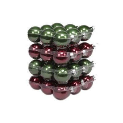 Karácsonyfadísz bordó-zöld 4cm