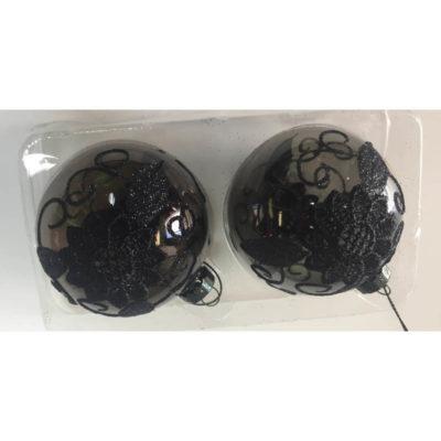 Karácsonyfadísz fekete üveg csipke mintával 7cm