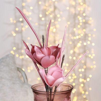 Virág dekoráció Ceara metál rózsaszín 2 virággal 68cm