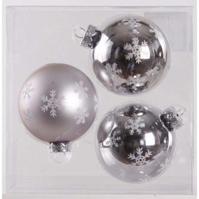 Karácsonyfadísz ezüst hópihe 8cm