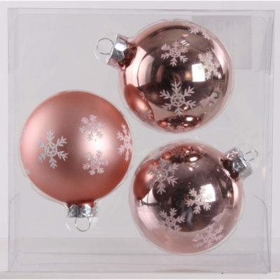 Karácsonyfadísz rózsaszín hópihe 8cm
