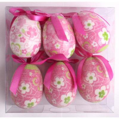 Tojás dekoráció virágos pink 6db-os