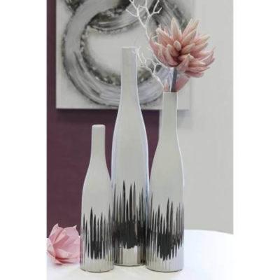 Váza Mikado fehér-ezüst