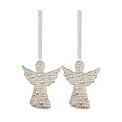 2 darabos angyalka formájú pezsgő színű karácsonyi függő dísz buborék hatással