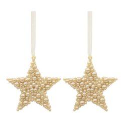 2 darabos csillag formájú arany színű karácsonyi függő dísz buborék hatással
