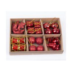 24 db-os piros színű karácsonyi dísz dobozban