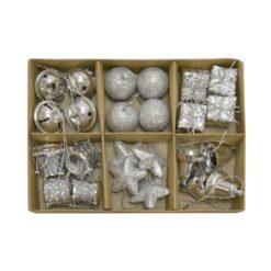 24 részes ezüst karácsonyi dekor készlet