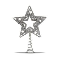 Ezüst színű csillag formájú karácsonyi csúcsdísz 19