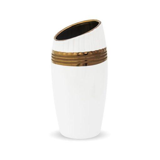 Fehér színű kerámia váza arany dekorral mérete 25x10