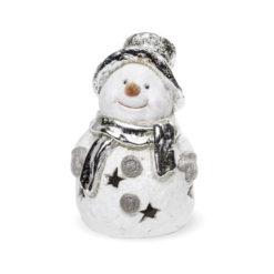 Fehér-ezüst színű hóember azstali dísz  15x10x9