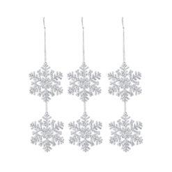 6 db hópely formájú dekor függő dísz 7x7cm