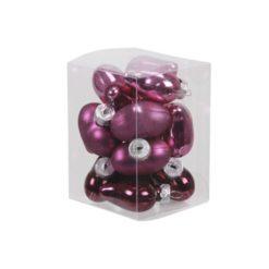 Mályva színű fényes és matt szív formájú üveg karácsonyfadísz 4cm 12db