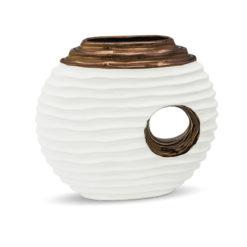 Hófehér modern design váza arany dekorral