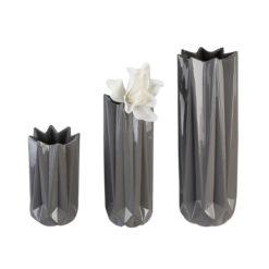 """Fényes sötétszürke porcelán váza """"Zelko"""" 40cm"""