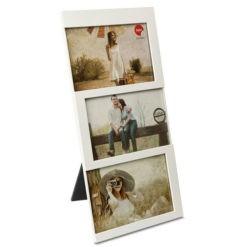 3 részes fehér műanyag asztali képkeret 3x10x15cm Dijon