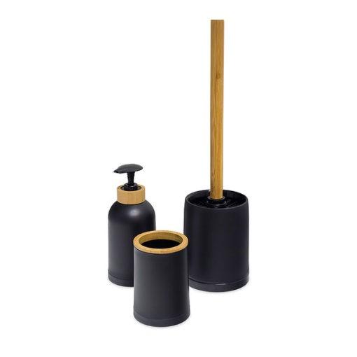 Zen 3 részes fürdőszobai szett fekete és bambusz színben