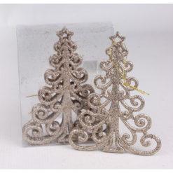 Karácsonyfadísz karácsonyfa formájú bronz színben 14cm
