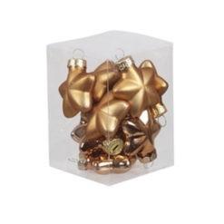 Bronz színű fényes és matt csillag formájú üveg karácsonyfadísz 4cm 12db