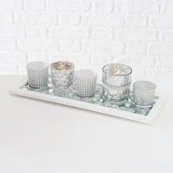 7 részes üveg mécses tartó készlet ezüst színekben