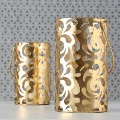 Óriási 48 cm méretű arany színű exkluzív fém gyertyatartó