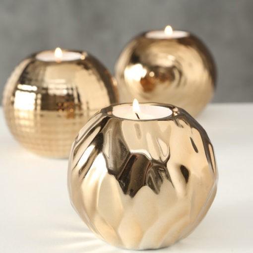 Gyönyörű kerámia mécsestartó arany színben három féle mintával