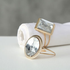 Exkluzív gyémánt gyűrű hatású 4 darabos szalvétagyűrű szett választható formában