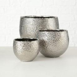 3 darabos kerámia kaspó szett ezüst színű kő mintázatú