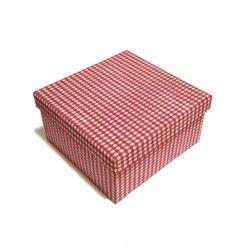 Díszdoboz anyag borítású piros kockás 20x11x20cm