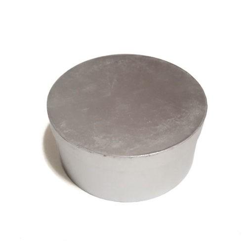 Ezüst kör alakú díszdoboz 20x9cm