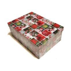 Díszdoboz karácsonyi mintával 33x12