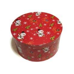 Kör alakú díszdoboz karácsonyi mintával hóemberes 35