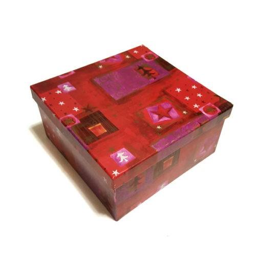 Díszdoboz piros színben karácsonyi mintával 23
