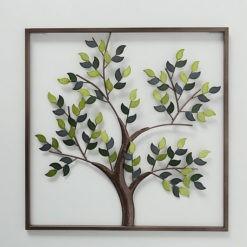Fát ábrozoló fémből készült fali dekoráció 50x50x2