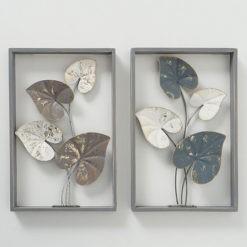 Vegyes színekben pompázó levél formájú fém fali dekoráció 26x4x40cm